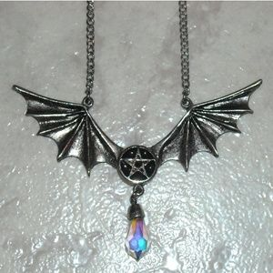 Jewelry - Silver Bat Wings Pentagram Crystal Necklace Witch